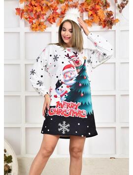 Rochie Dama MerryChristmassOne Alb