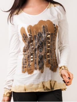 Bluza Dama Cu Imprimeu In Fata Maro Si Alb
