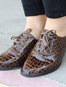 Pantofi Dama Lucioasi Si Texturati Maro
