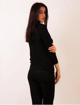 Pulover Dama Cu Model In Fata Negru