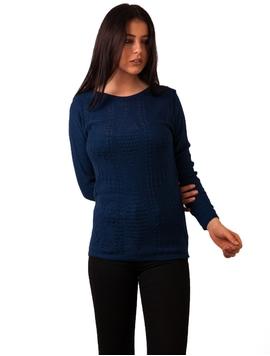 Pulover Dama Cu Model In Fata Albastru