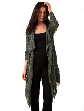 Cardigan Dama Cu Franjuri La Baza Verde Si Bleumarin
