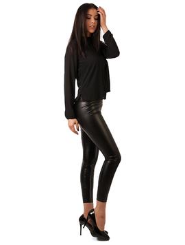 Pantaloni Dama Stil Colant Din Piele Ecologica Negri