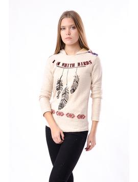 Bluza Dama Cu Imprimeu Si Gluga Bej