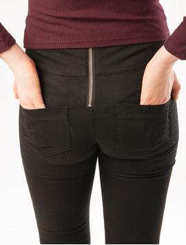 Pantaloni Dama Cu Talie Inalta Si Fermoar La Spate Negri