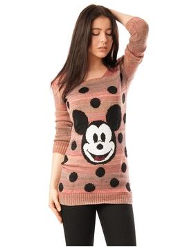 Pulover Dama Cu Model Mickey Mouse Corai Si Gri