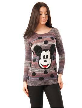 Pulover Dama Cu Model Mickey Mouse Bleumarin Si Mov