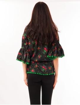 Bluza Dama Cu Model Floral, Ciucuri Si Curea Negru Si Verde