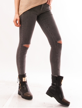 Jeans Dama Skinny Cu Rupturi Gri
