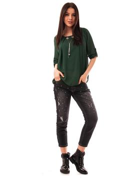 Jeans Dama Cu Strasuri Negri
