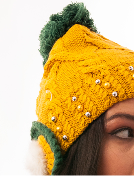 Caciula Tricotata Cu Perlute Si Urechi Mustar Si Verde