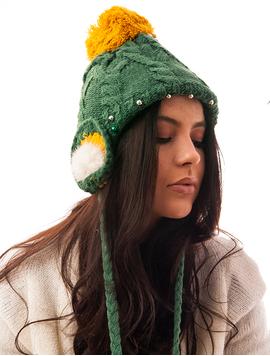 Caciula Tricotata Cu Perlute Si Urechi Verde Si Mustar