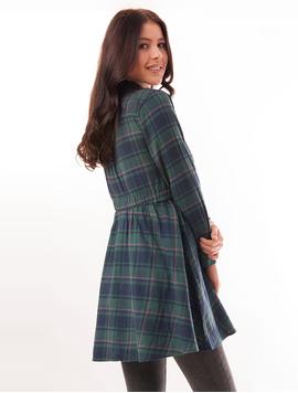 Camasa Dama Stil Rochita In Carouri Bleumarin Si Verde