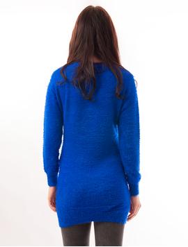 Pulover Dama Lung Si Pufos Albastru