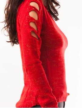 Pulover Dama Cu Fir Auriu Si Umeri Decupati Rosu Aprins