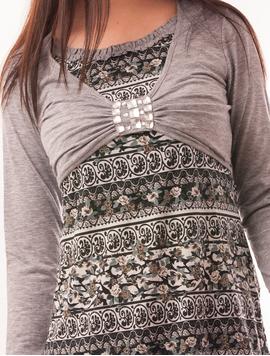 Bluza Dama Cu Model Floral Si Pietre Stralucitoare Grace Gri
