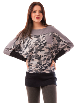 Bluza Dama Cu Fermoar La Spate Army Gri