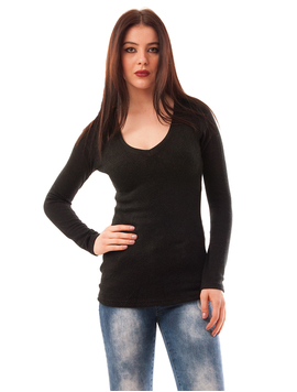 Pulover Dama Uni Simplicity Negru