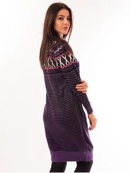 Rochie Tricotata Cu Model Buffalo Mov Si Negru