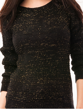 Pulover Dama Cu Fir Stralucitor Star Negru