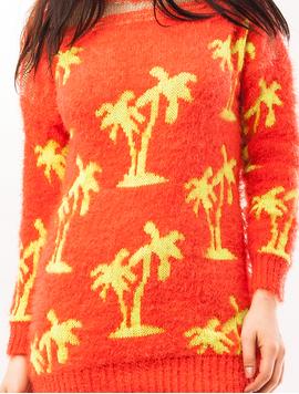 Pulover Dama Cu Model Cu Palmieri Palms Corai