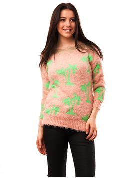 Pulover Dama Cu Model Cu Palmieri Palms Roz