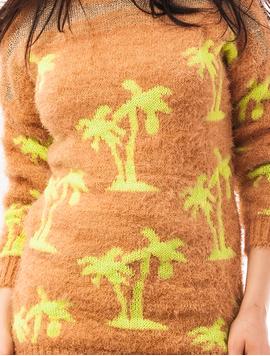 Pulover Dama Cu Model Cu Palmieri Palms Maro Deschis