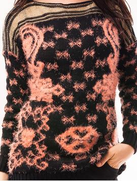 Pulover Dama Cu Model In Fata Code Bleumarin Si Roz