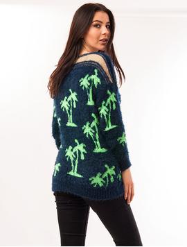 Pulover Dama Cu Model Cu Palmieri Palms Bleumarin Si Verde