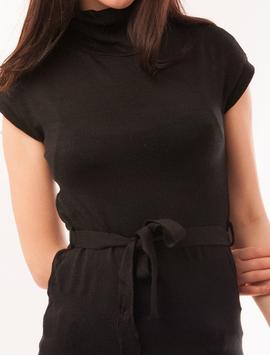 Vesta Dama Cu Guler Si Cordon Unique Neagra