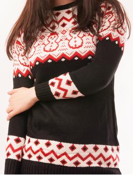 Pulover Dama Cu Oameni de Zapada Snow Negru