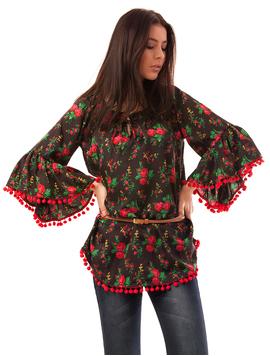 Bluza Dama Cu Model Floral Si Ciucuri Happiness Negru Si Rosu