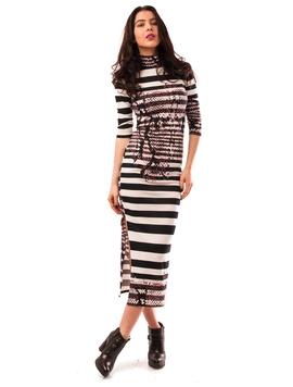 Rochie Lunga Cu Imprimeu Dungat Stripes Alb Si Negru