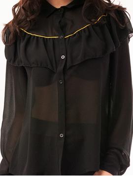 Camasa Dama Cu Volanase Feeling Neagra