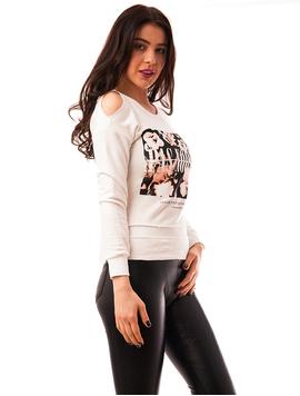 Bluza Dama Cu Imprimeu In Fata Pas Normal Alba