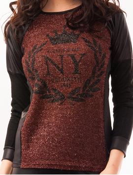 Bluza Dama Cu Fir Stralucitor College NY Maro