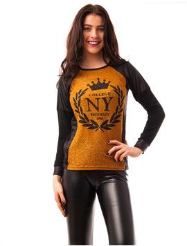 Bluza Dama Cu Fir Stralucitor College NY Mustar