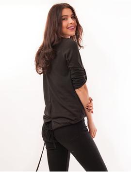 Bluza Dama Din Tricot Cu Siret Si Colier Sydney Neagra