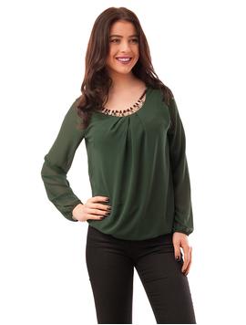 Bluza Dama Din Voal Cu Colier Brave Verde