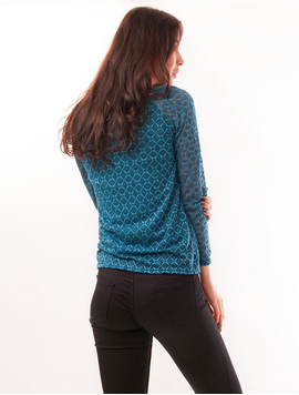 Bluza Dama Din Dantela Cu Model Geometric Visual Turcoaz