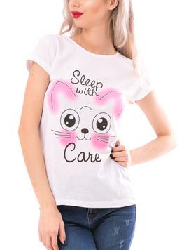 Tricou Dama SleepWithCare Alb Negru si Roz