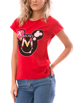 Tricou Dama MikeySmile Rosu