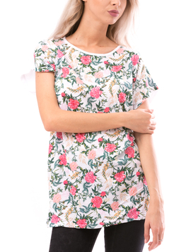 Tricou Dama NewSoftTouch Alb Verde Roz si Galben