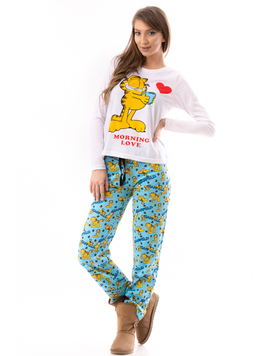 Pijama Dama GarfieldCartoon Alb