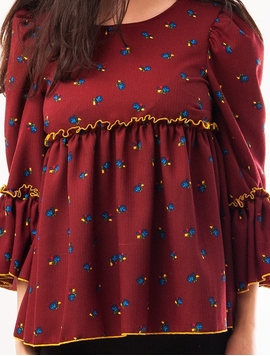 Bluza Dama Cu Model Floral Si Volanase Grena