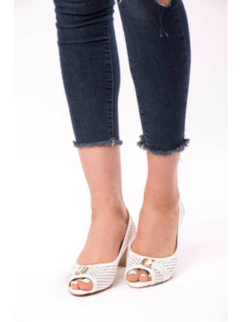 Pantofi Dama Cu Toc Gros Dandelion Albi