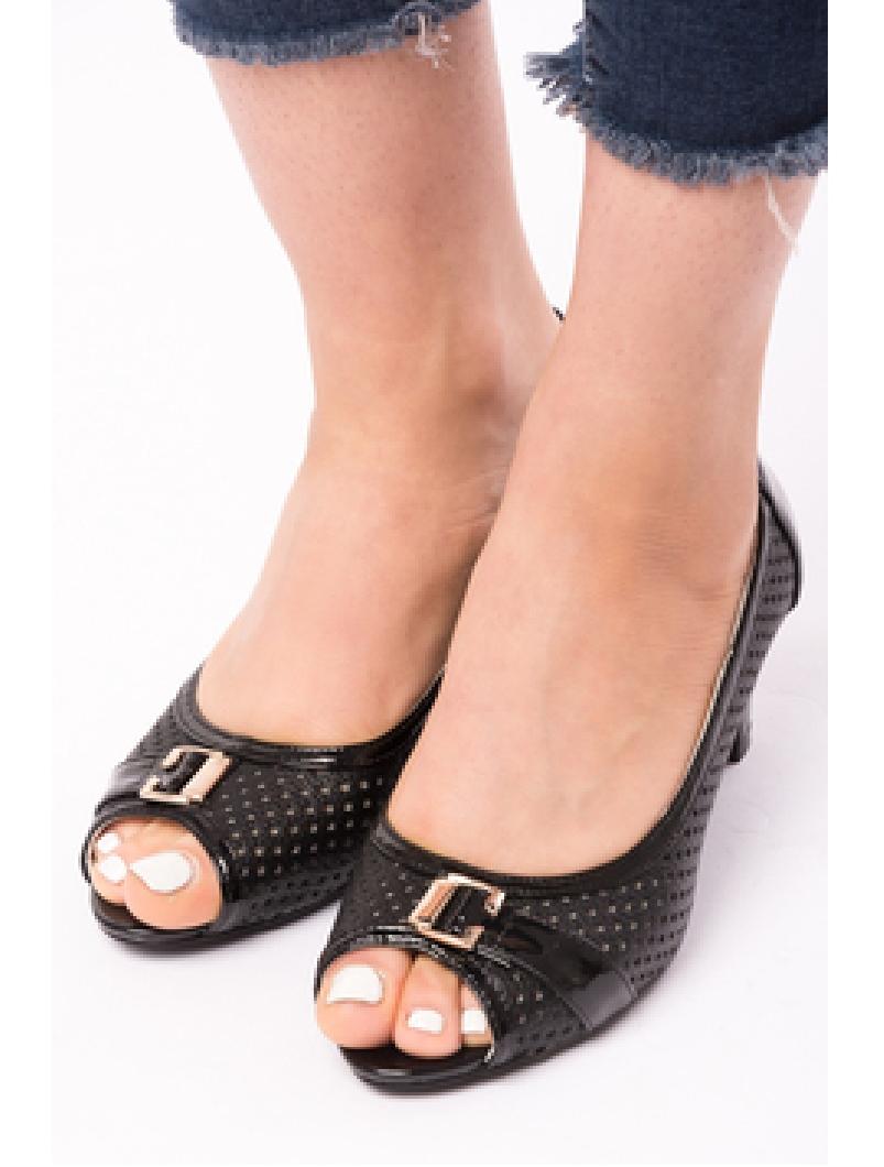 Pantofi Dama Cu Toc Gros Dandelion Negri