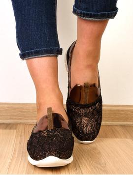 Pantofi Dama Casual Cu Dantela Stralucitoare Sunny Bronz