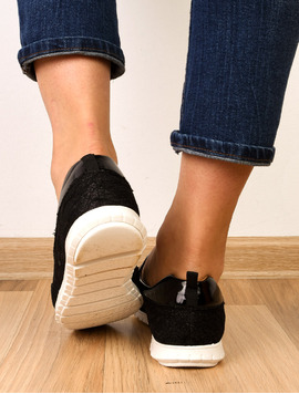 Pantofi Dama Casual Cu Dantela Stralucitoare Sunny Negri
