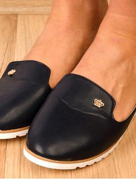 Pantofi Dama Casual Cu Aplicatie Metalica Crown Bleumarin